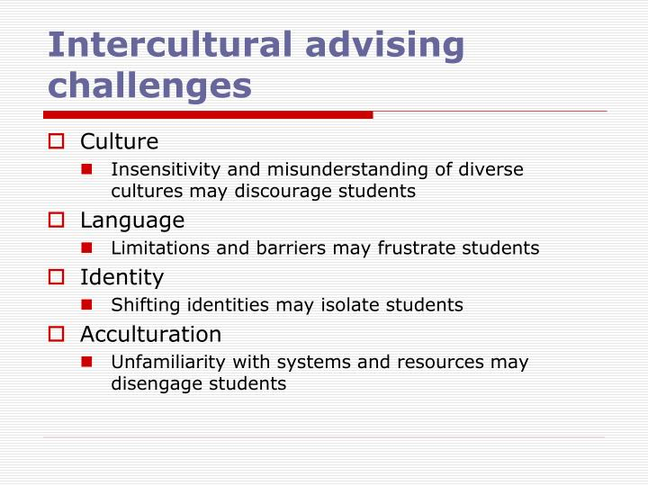 Intercultural advising challenges