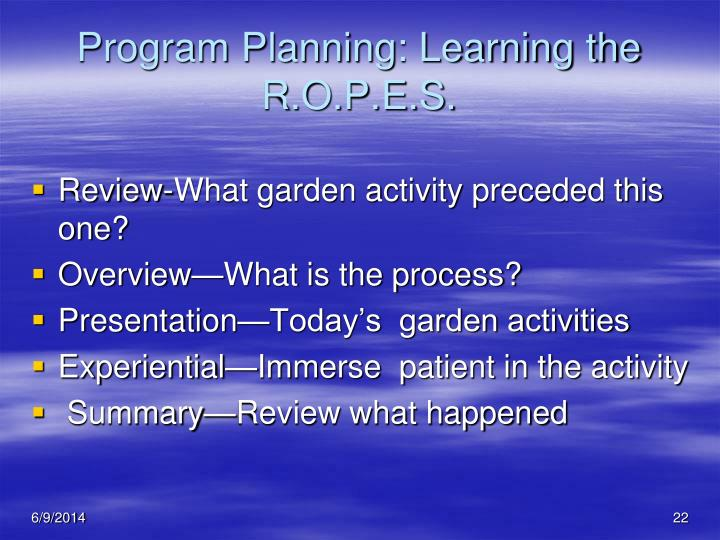 Program Planning: Learning the R.O.P.E.S.