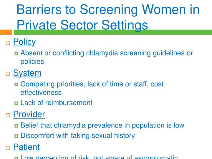 Barriers to Screening Women in Private Sector Settings