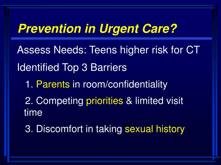 Prevention in Urgent Care?