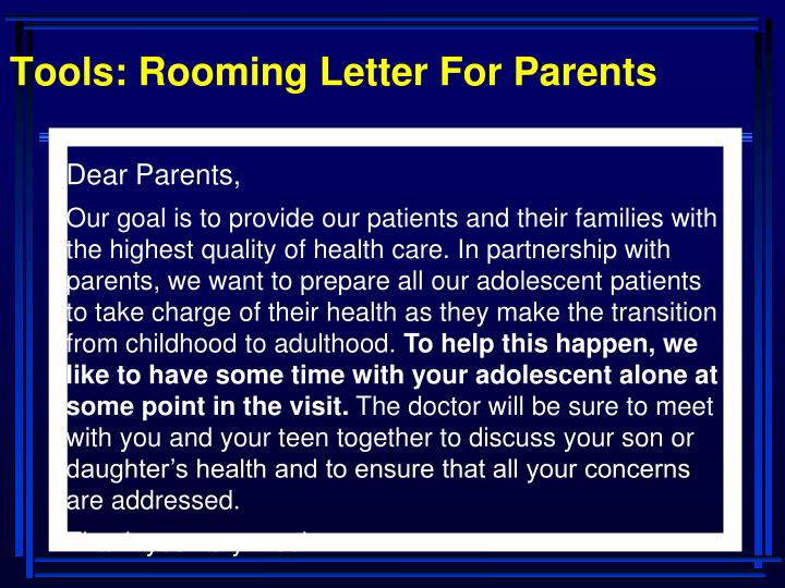 Tools: Rooming Letter For Parents