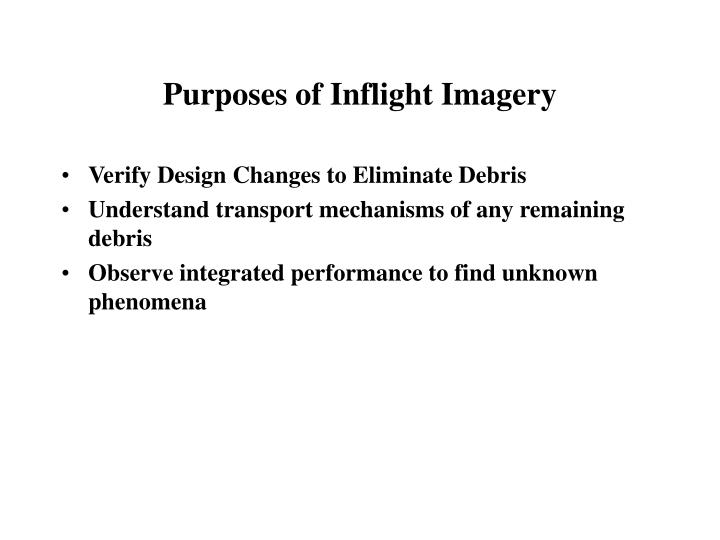 Purposes of Inflight Imagery