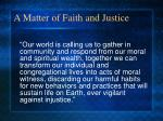 a matter of faith and justice1