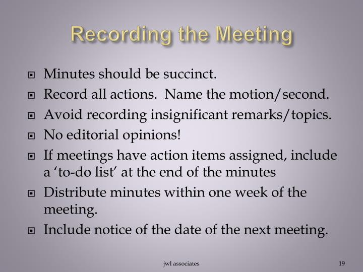 Recording the Meeting