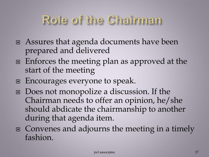 Role of the Chairman