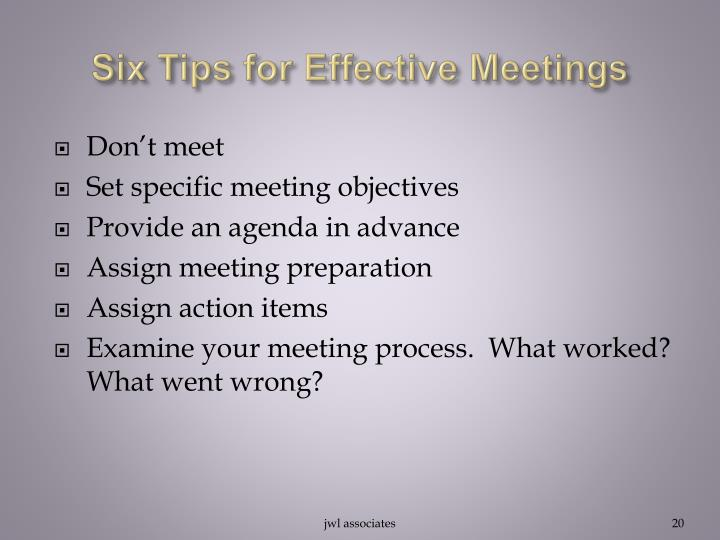 Six Tips for Effective Meetings