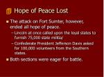 hope of peace lost