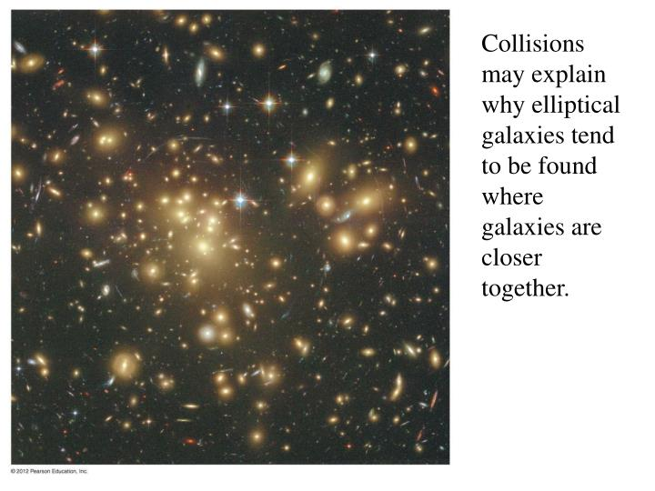 Collisions may explain why elliptical galaxies tend to be found where galaxies are closer together.