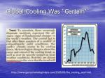 global cooling was certain