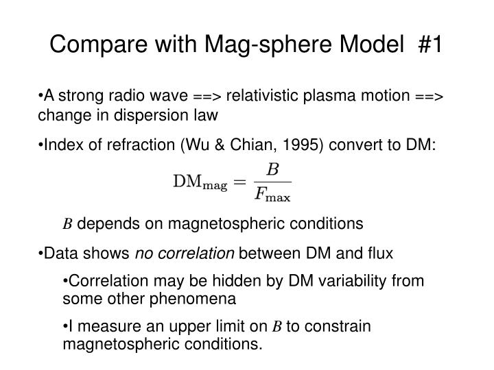 Compare with Mag-sphere Model  #1