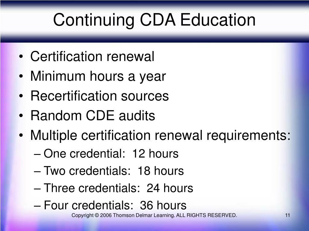 Continuing CDA Education