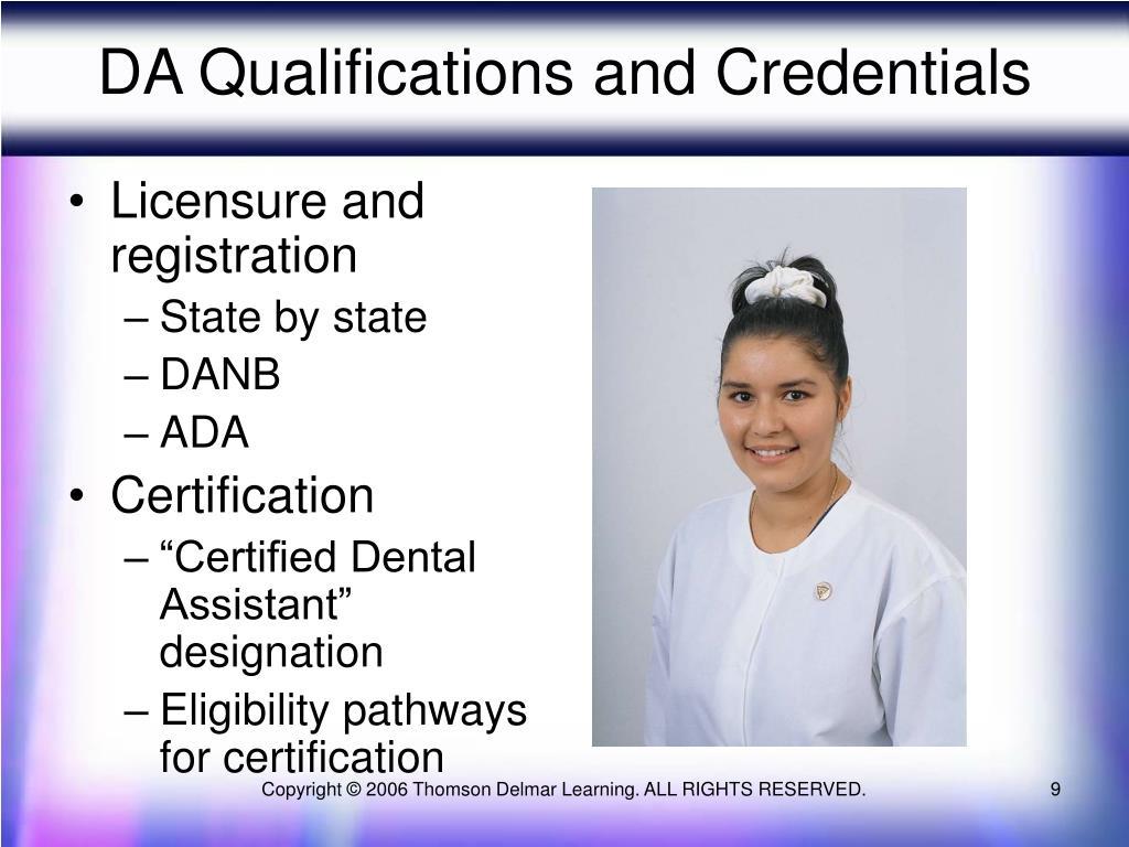 DA Qualifications and Credentials