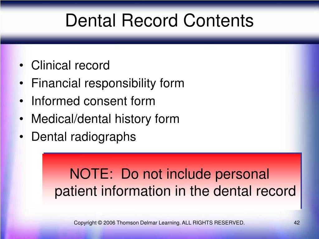 Dental Record Contents