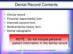 dental record contents