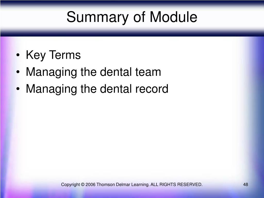 Summary of Module