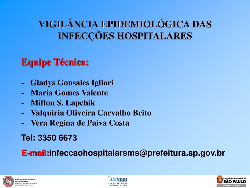 vigil ncia epidemiol gica das infec es hospitalares l.