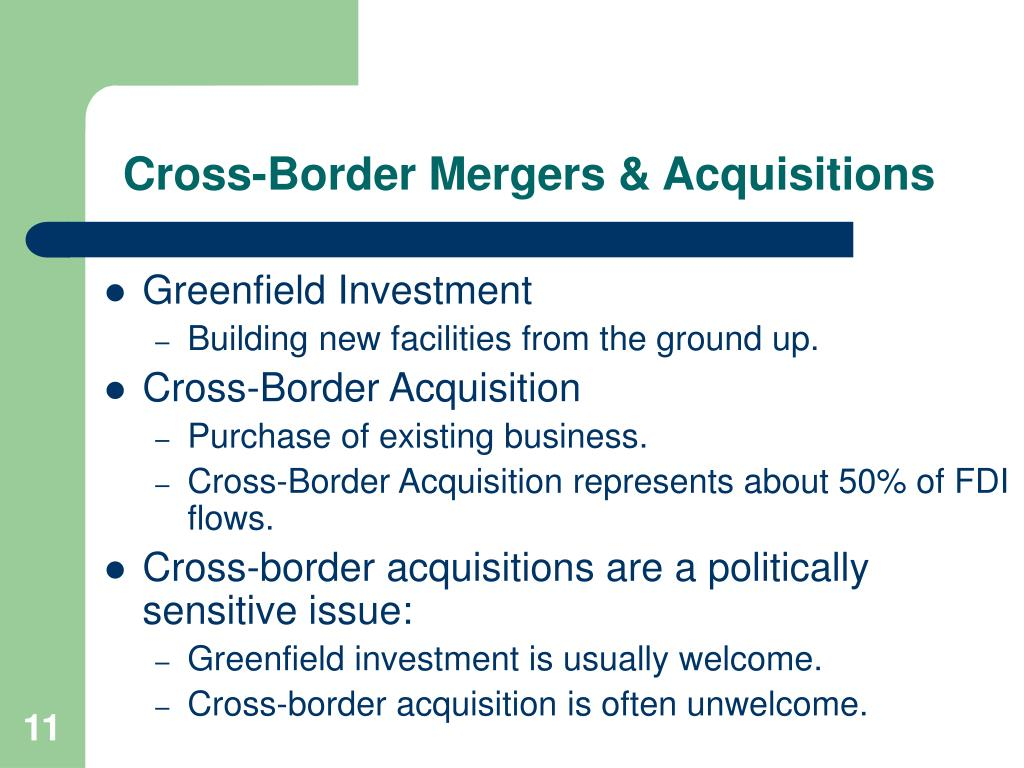 Foreign direct investment and cross border acquisitions ppt secured investment definition