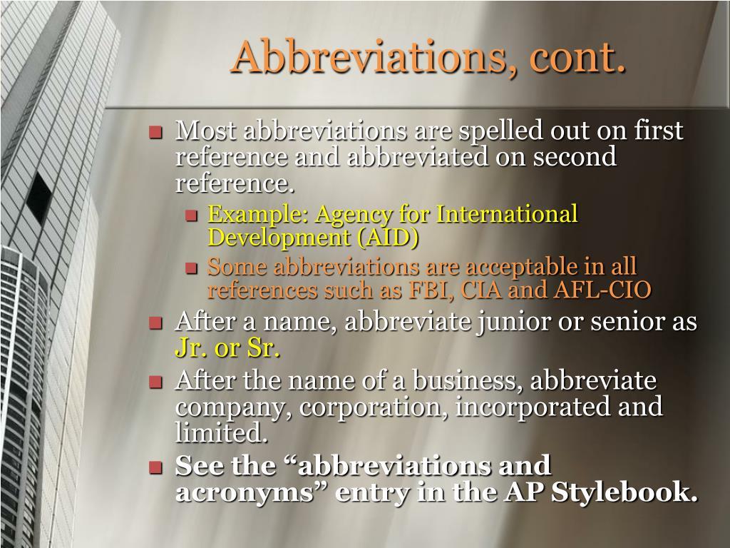 Abbreviations, cont.