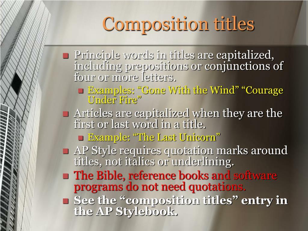 Composition titles