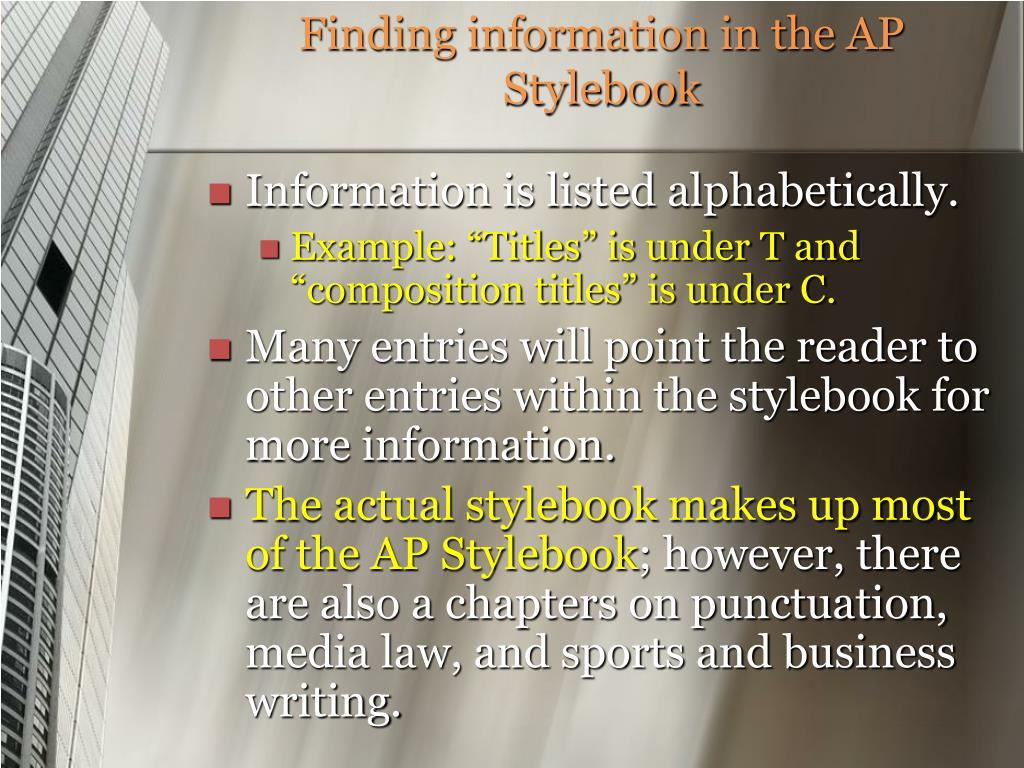 Finding information in the AP Stylebook
