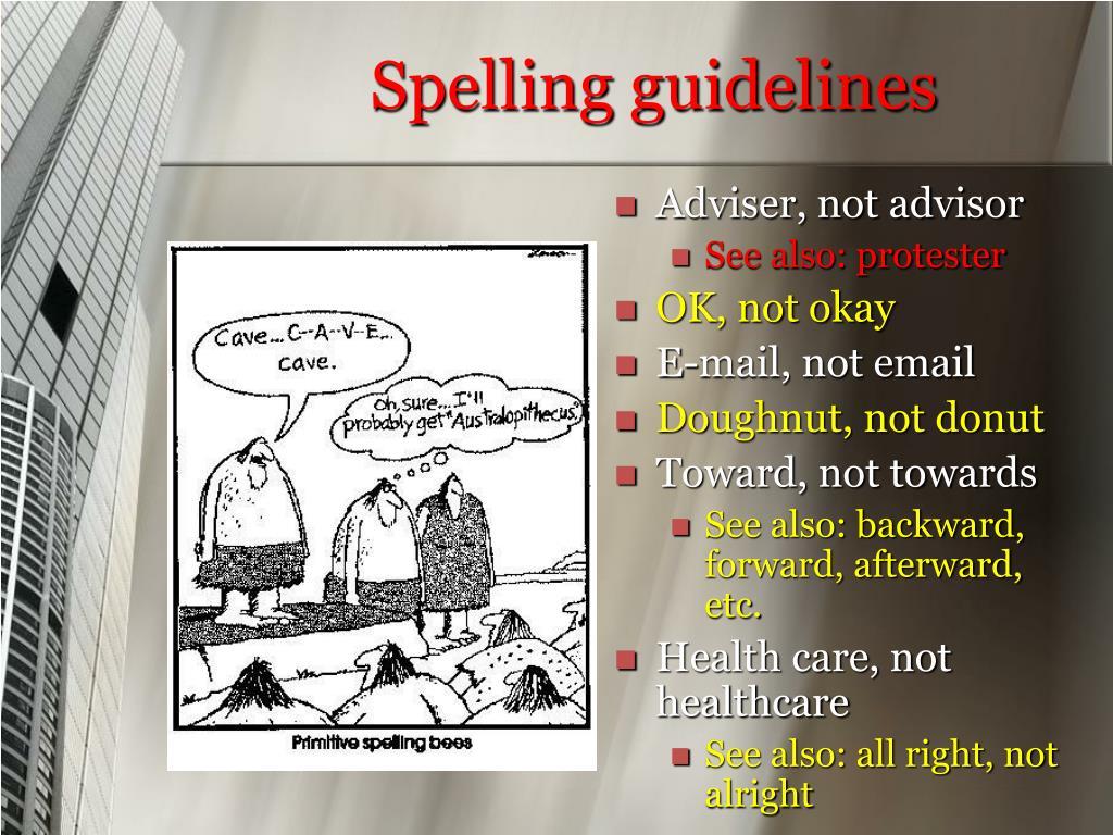 Spelling guidelines