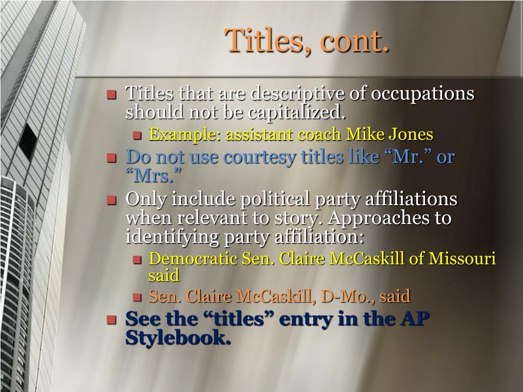 Titles, cont.