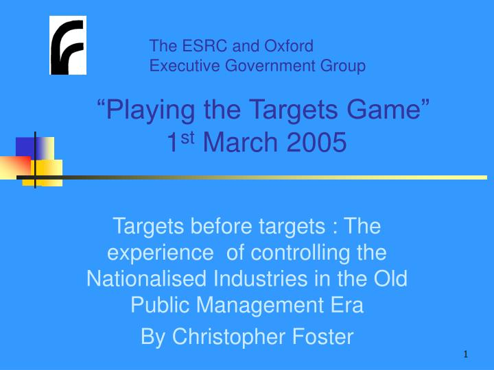 playing the targets game 1 st march 2005 n.