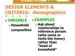 design elements criteria demographics