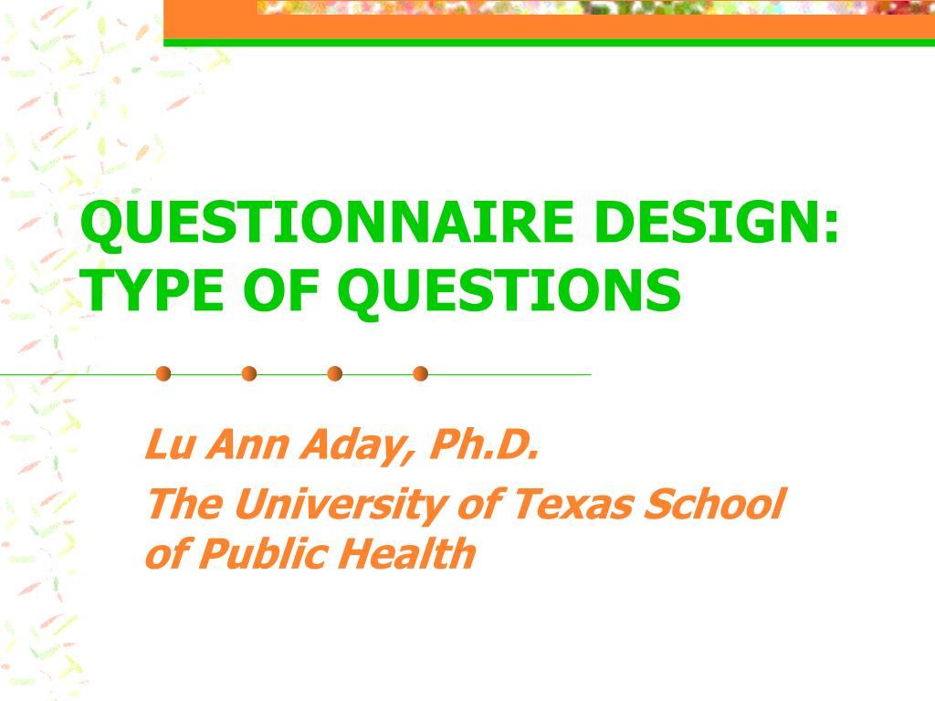 questionnaire design type of questions l.