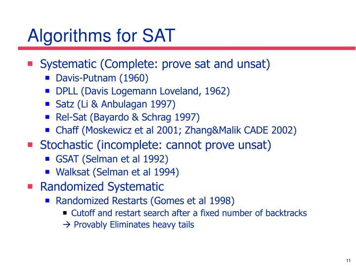 Algorithms for SAT