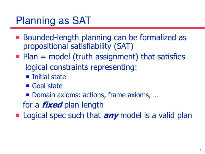 Planning as SAT