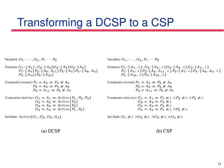 Transforming a DCSP to a CSP