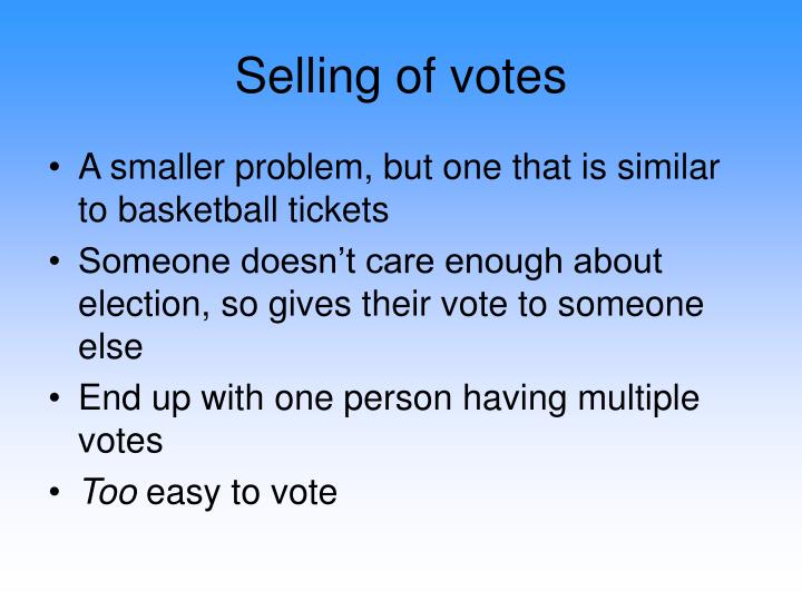 Selling of votes