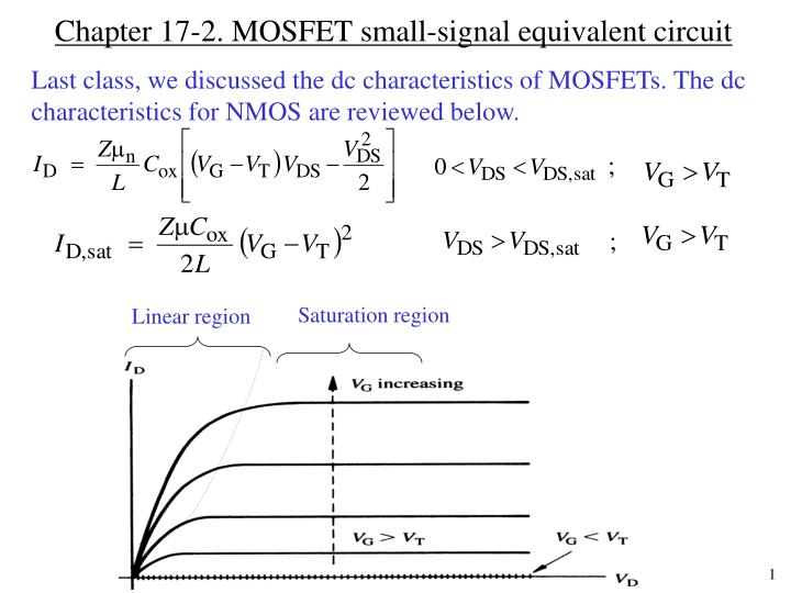Chapter 17 2 mosfet small signal equivalent circuit