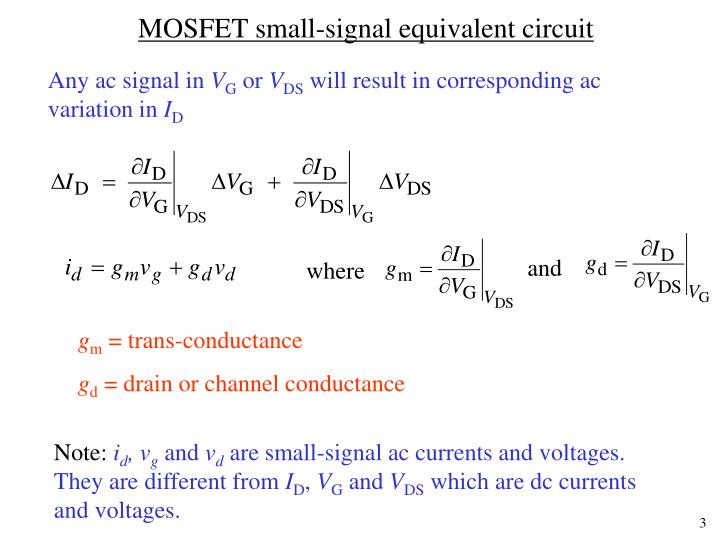Mosfet small signal equivalent circuit