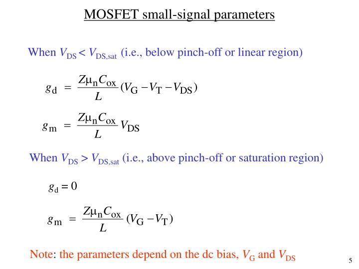MOSFET small-signal parameters