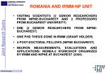 romania and irmm np unit