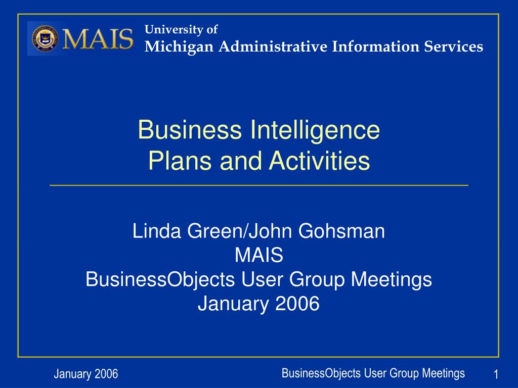 business intelligence plans and activities l.