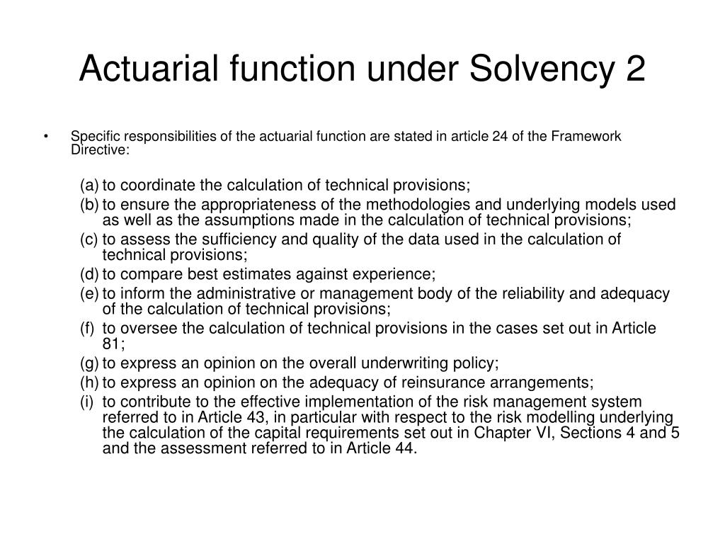 Actuarial function under Solvency 2