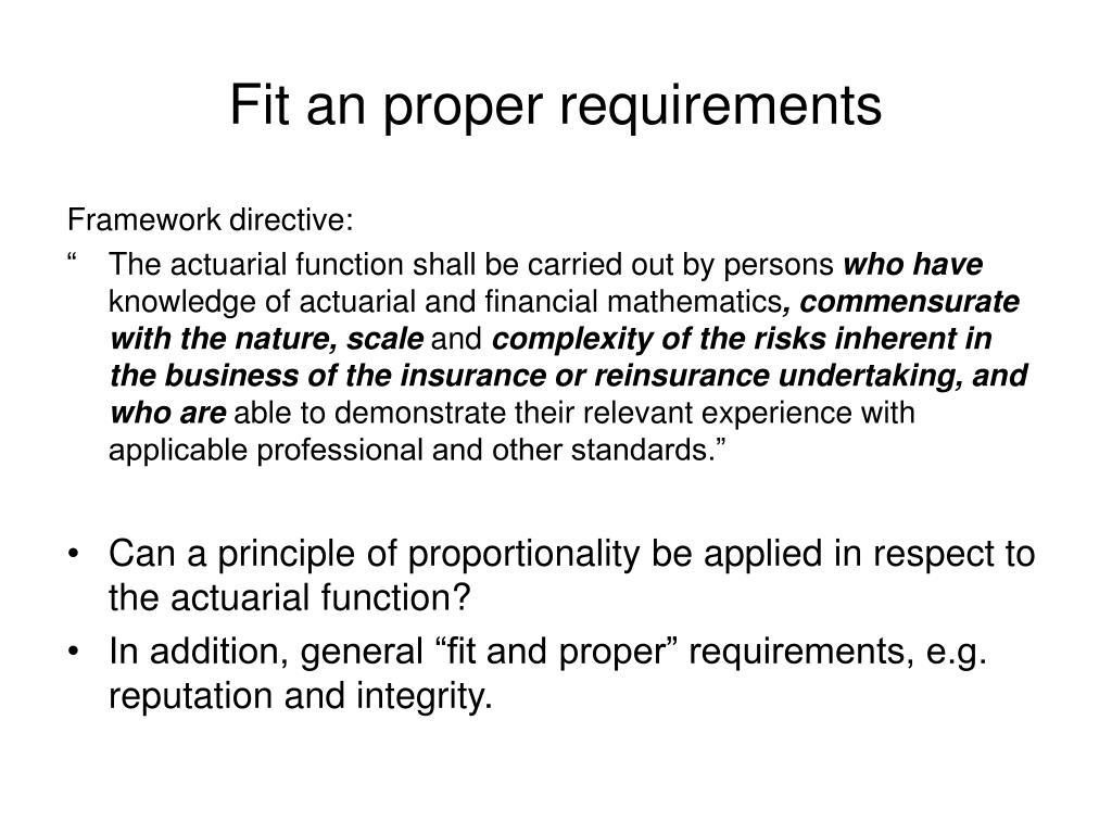 Fit an proper requirements
