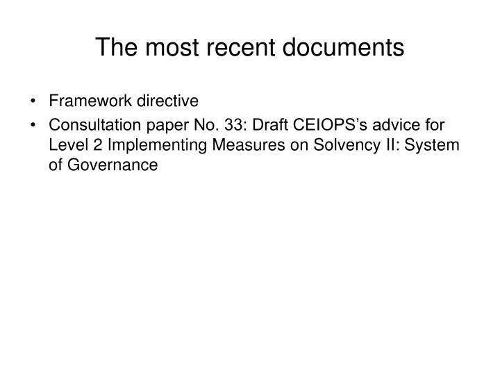 The most recent documents