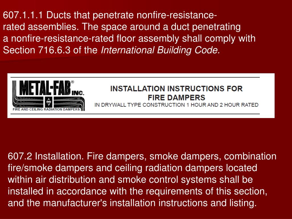 607.1.1.1 Ducts that penetrate nonfire-resistance-