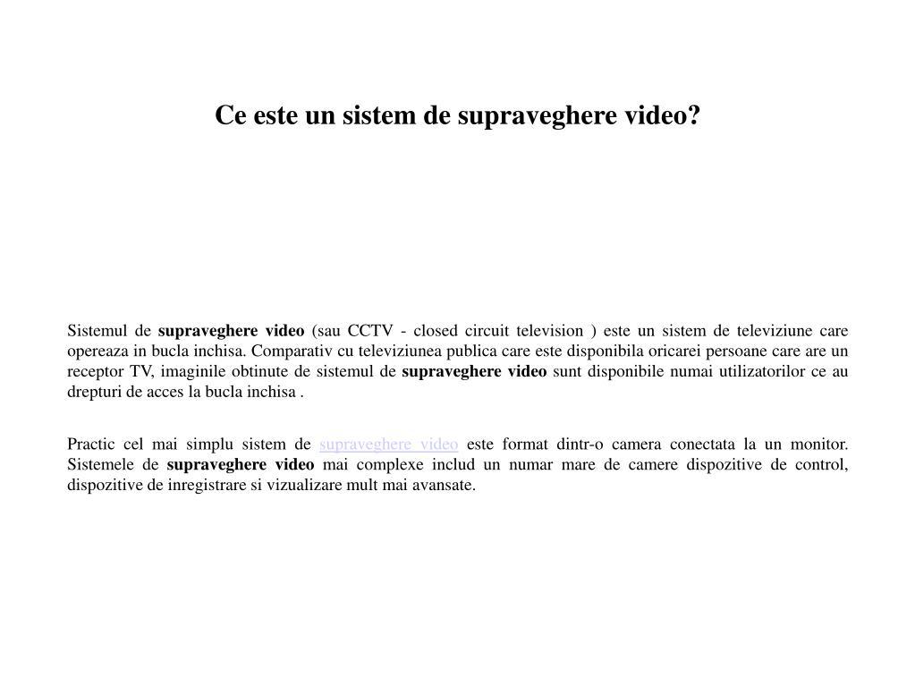 ce este un sistem de supraveghere video l.