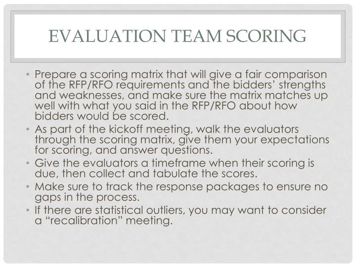 Evaluation team scoring