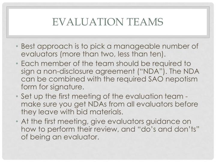 Evaluation teams