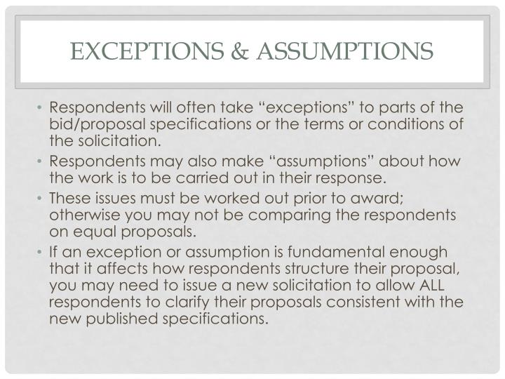 Exceptions & assumptions