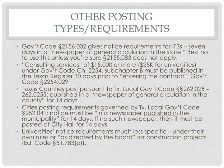 Other posting types/requirements