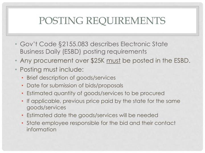Posting requirements
