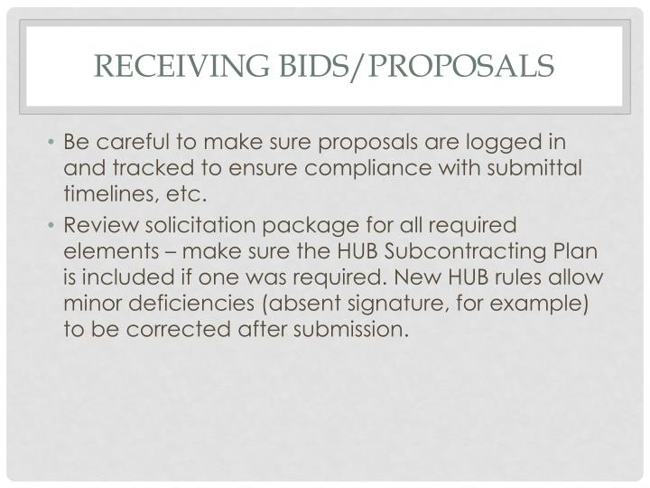 Receiving Bids/proposals