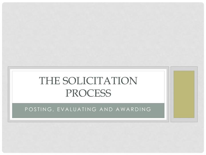the solicitation process n.